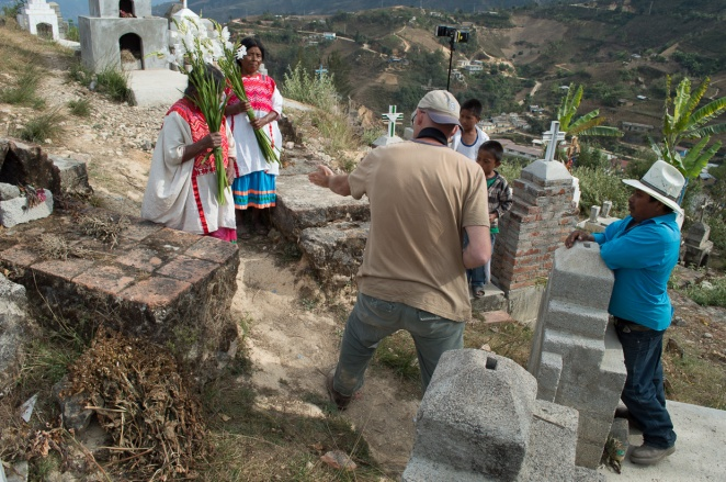 Explaining where I wanted them to stand with hand gestures and translations into Mixtec. The results are invariably unexpected!  Photo by Marina in Santiago Tilapa